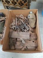 Box of antique tools etc