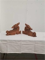 Pr.of lg. carved Asian foo dogs