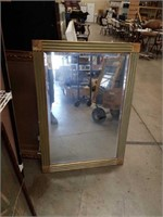Beveled edge wall mirror with green and gold frame