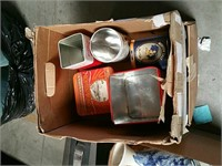 Box of tin containers