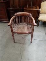 Rush bottom half round chair