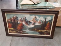 Large oil painting of mountains