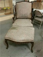 Carved arm chair and ottoman