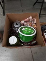 Box of cooking pots and miscellaneous