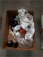 Box of cut glass basket and porcelain pieces