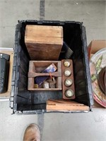 Crate of old wooden boxes and wood working tools