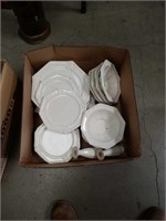 Box of white dishes