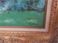 Signed enamel painting