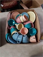 Box of fiesta cups and saucers