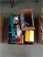 Box of cleaning supplies and miscellaneous