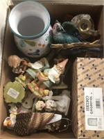 Box of figurines and flatware