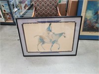Signed  South West print- Native on a horse