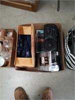 Box of radios and lights