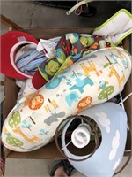 Box of miscellaneous baby items
