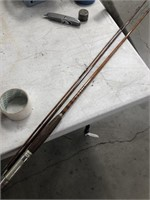 Vintage fly rod in metal tube