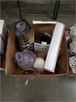 Box of blender, food processor and desk lamp
