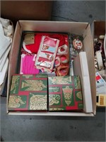 Box of holiday ribbon