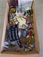 Box of military patches pins medals and buttons