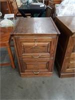 Oak 2 drawer file cabinet with key