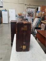Antique leather suitcase
