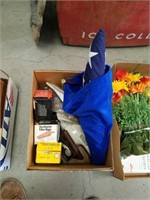 Box of USA flag and dust Buster