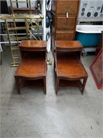 Pair of leather top step end tables