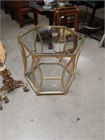 Metal 6 sided glass top side table