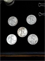 5 walking liberty half dollars 1947 1944 1936