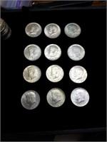12 1964 Kennedy half dollars