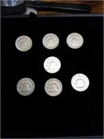 7 Franklin half dollars 1958 1959 1950 1951 1952