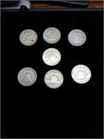 7 Franklin half dollars 1960-62 63