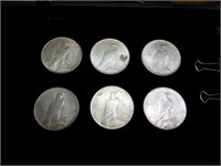 six 1922 peace silver dollars one mint mark s the