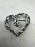 Heart Brooch with Pierced Earrings