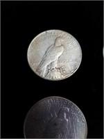 Four 1923 peace silver dollars three mint mark s
