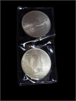 Two 1922 peace silver dollars appraised BU