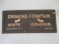 "Cast Iron ""Drinking Fountain"" Sign"