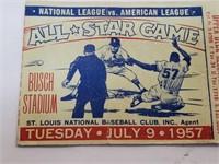 RARE 1957 All Star Game Ticket At Busch Stadium