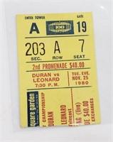 1980 Sugar Ray Leonard vs. Roberto Durán II Ticket