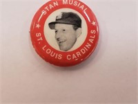1983 Stan Musial Red Pin Back Button