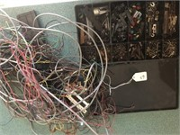 Misc. box of wiring, track parts, RR crossing, as
