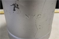 "PAINTED SILVER NYCS FLUID CAN 13"" TALL"