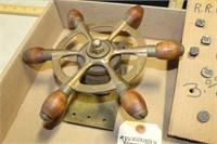BUTTER PRESS, R.R. NAILS, BRASS SHIP WHEEL,