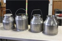 3 DELAVAL S/S MILK CANS & 1 UNKNOWN MAKER;