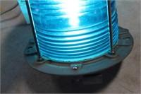"CAST ALUMINUM BLUE SIGNAL LANTERN 12"" TALL"