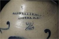 """2 GALLON CROCK (WHITTEMORE, HAVANA, NY) 12"""" TALL"""