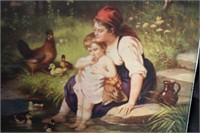 ORIGINAL (1906) PRINT OF A MOTHER AND CHILD AT THE