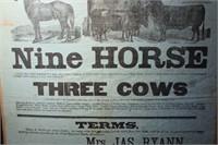 ORIGNAL 1893 FARM AUCTION POSTER