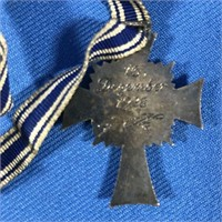 GERMAN NAZI BLUE ENAMEL MOTHER'S CROSS W/ RIBBON