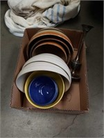 Box of mixing bowls and silver plated candle