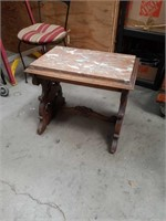 Antique carved marble top lamp table